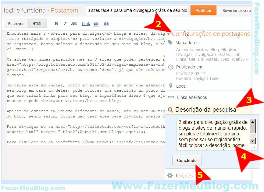 como faz para colocar meta tag description na postagem do blogger com nova interface
