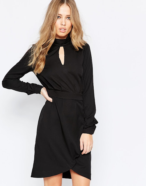black yas dress, high neck black dress,