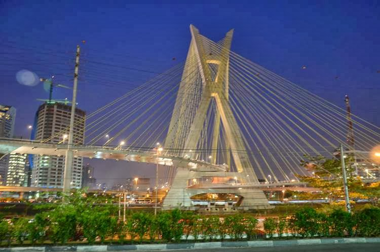 The Octavio Frias de Oliveira bridge is a cable-stayed bridge in São Paulo, Brazil over the Pinheiros River, opened in May 2008. The bridge is 138 metres (453 ft) tall, and connects Marginal Pinheiros to Jornalista Roberto Marinho Avenue in the south area of the city.