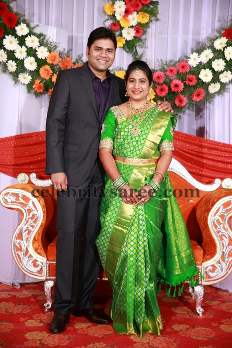Bride in Light Green Silk Saree
