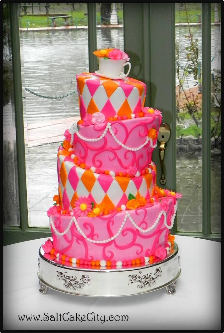 Pink Orange Topsy Turvy Wedding Cake