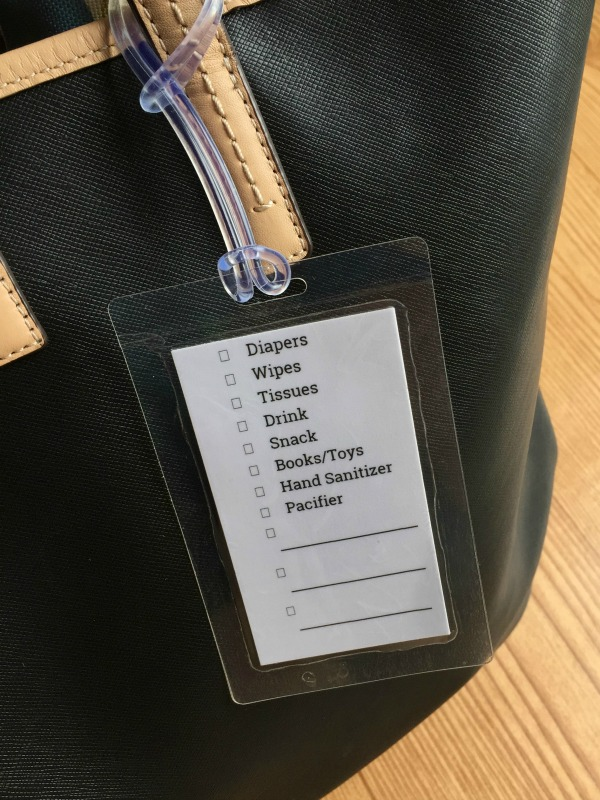 Diaper bag checklist so you don't forget anything. Great idea to put it in a luggage tag so you can make your own. Printing these out here - for each age
