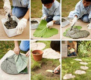 Como Hacer un Camino con Pasos de Cemento y Hojas
