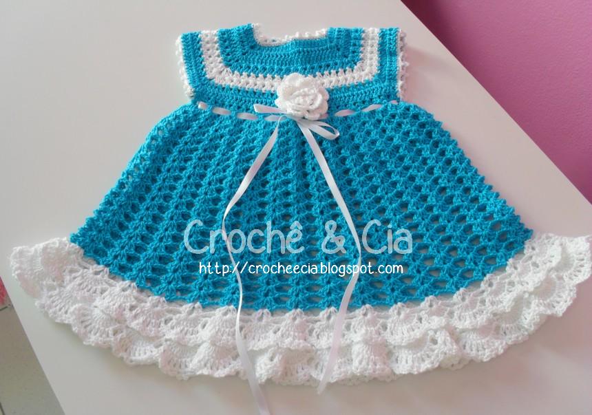 croche e cia vestido azul e branco para beb