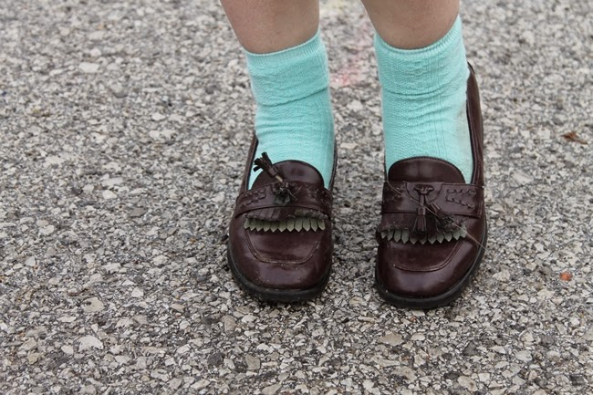 vintage loafers and bright blue socks