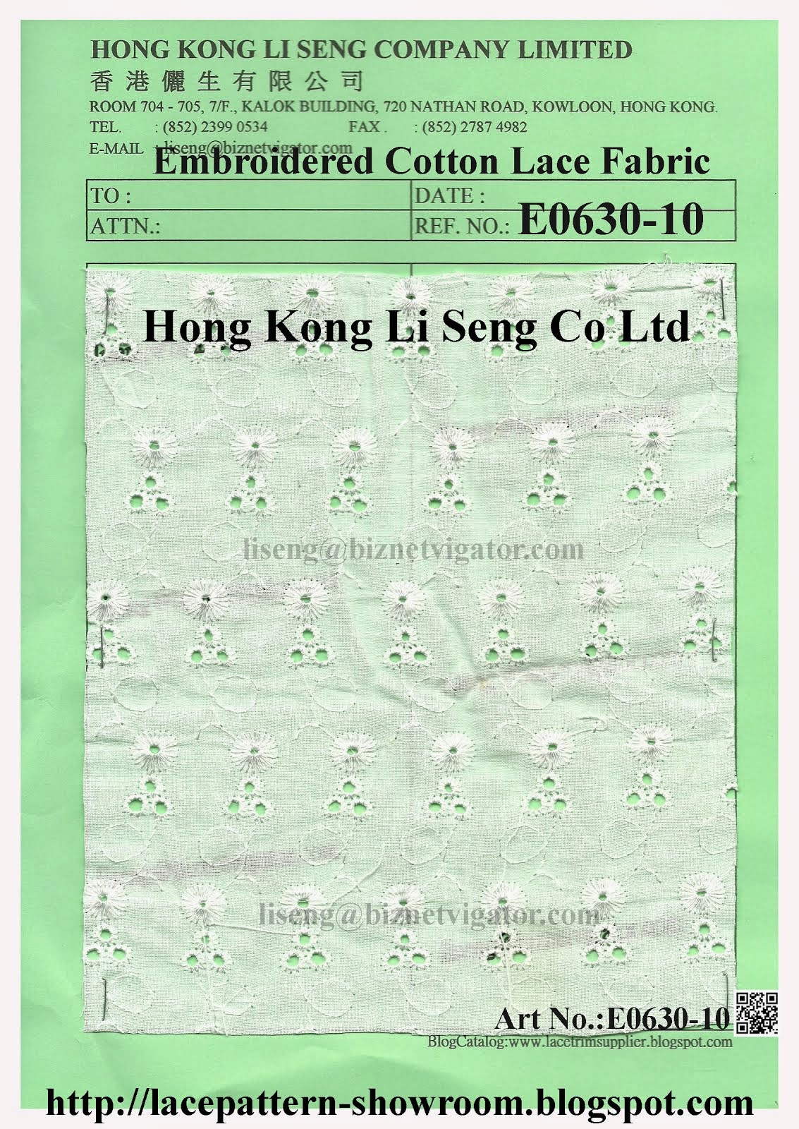 Embroidered Cotton Lace Fabric Manufacturer Wholesaler and Supplier - Hong Kong Li Seng Co Ltd