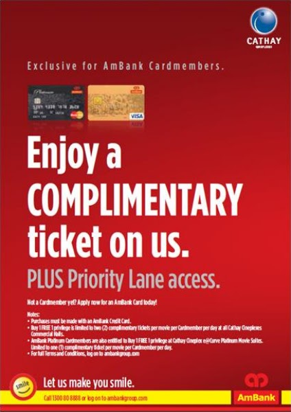 Credit Cards for Us: AMBANK - Buy 1 Free 1 Movie Tickets