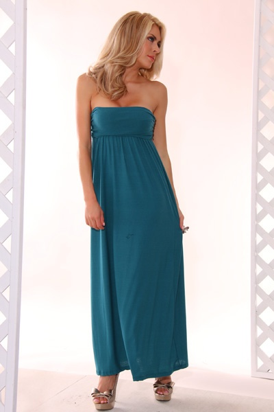 TEAL EMPIRE WAIST STRAPLESS MAXI DRESS