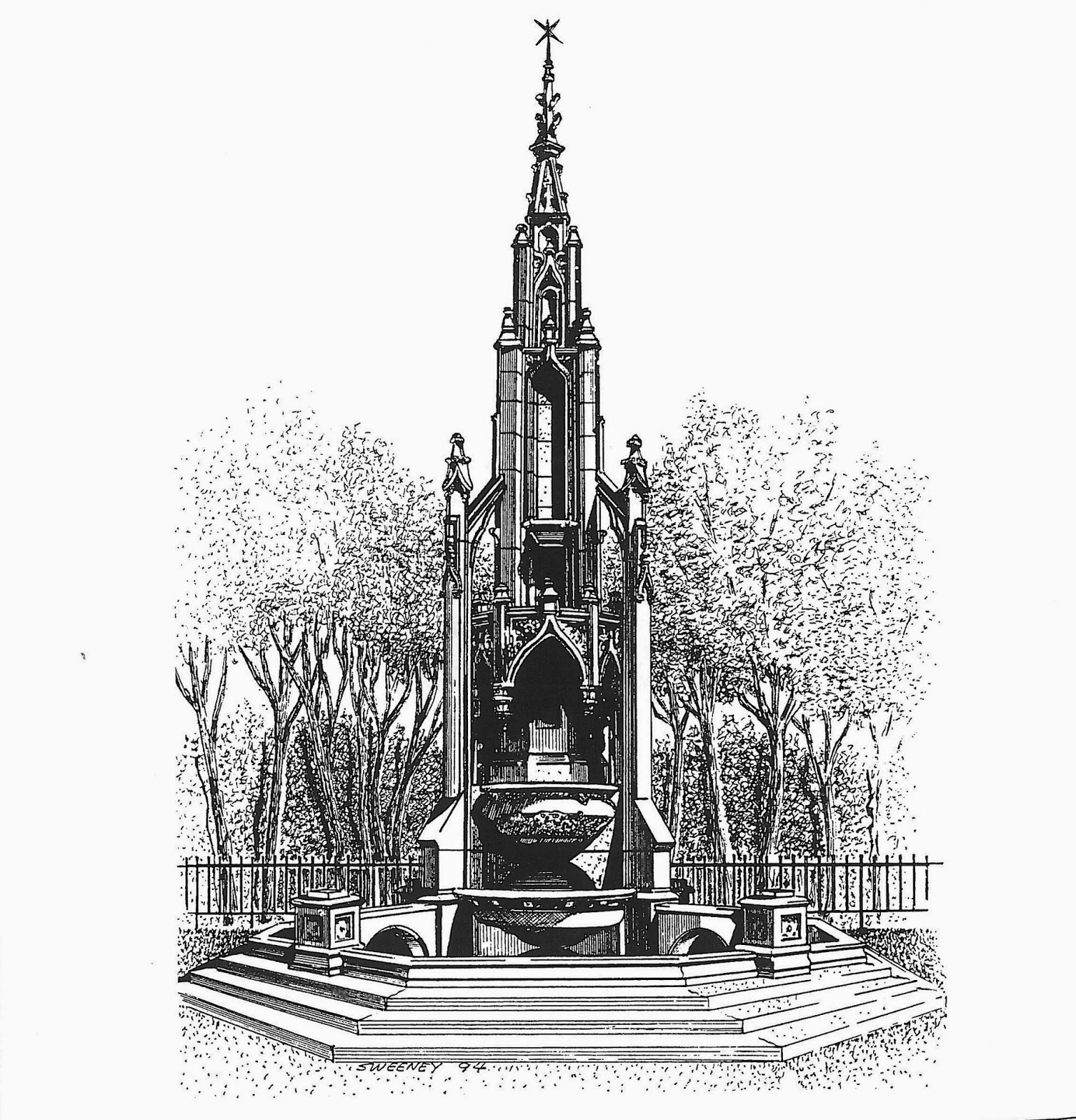 Drawing of the Waddell Fountain