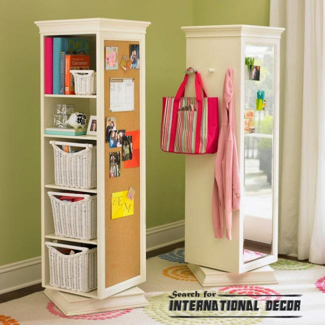 Multifunction rotating wardrobe, organizing small apartment, space saving furniture