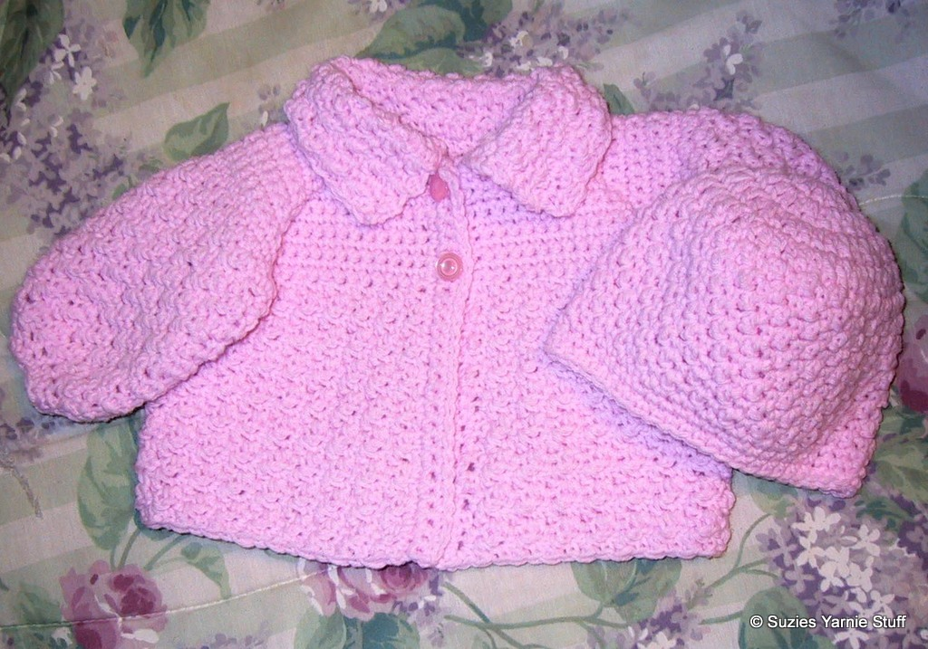 Crochet Baby Hat And Sweater Pattern : Suzies Stuff: SUZIE S TEXTURED BABY SWEATER AND HAT (C)