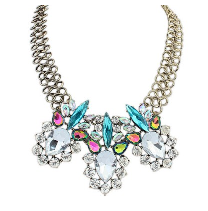 Aksesoris: Kalung Silver Diamond Warna-Warni (AHG-387)
