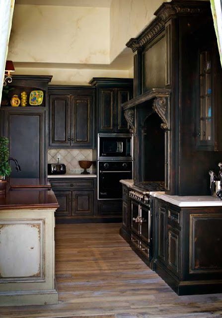 Habersham created this washed black kitchen…to look very old world