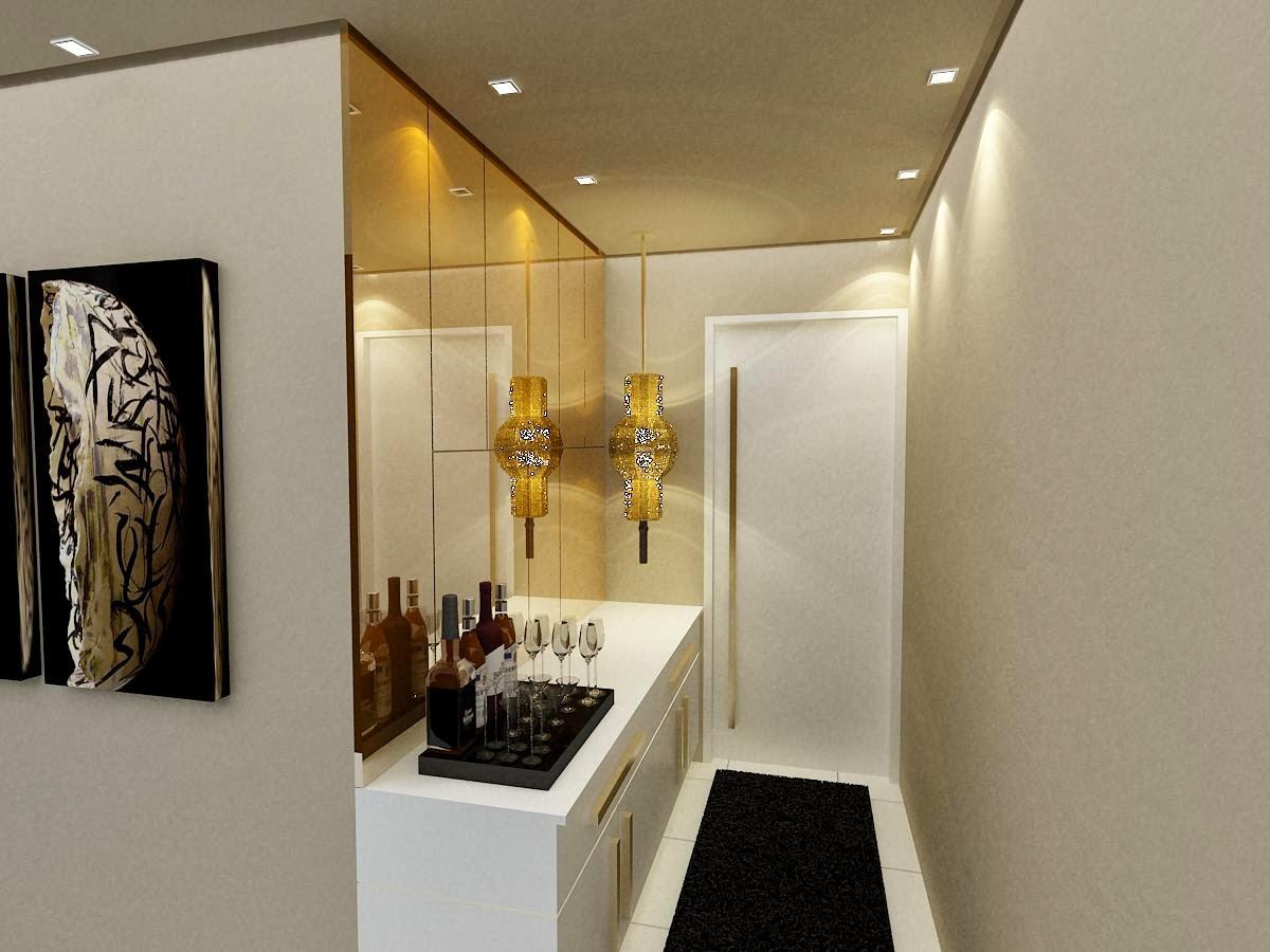 Hall de entrada estilo corredor com base clara e espelhos que ajudam a  #B38A18 1200x900
