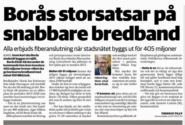 över 400 miljoner satsas på fiber i Borås