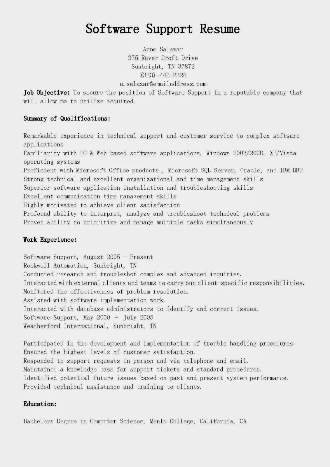 resume samples  software support resume sample