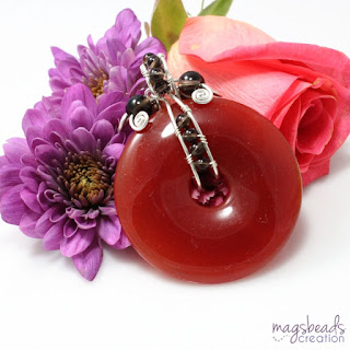 Red Agate Donut Pendant by MagsBeadsCreation - magsbeadscreation.com