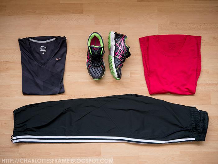 Nike Shirt, Asics Gel Kayano 19, Purelime longlseeve, Adidas running pants