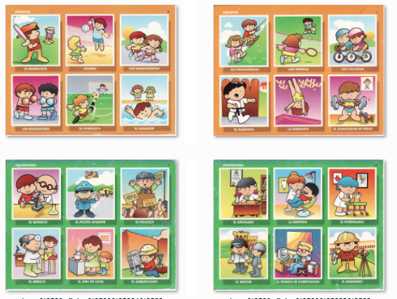 Loteria oficios y profesiones con dibujos animados - Imagui