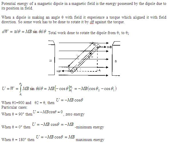 Potential Energy Magnetic Field Potential Energy of a Magnetic