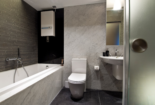 Picture of black and white bathroom as part of the Hong Kong apartment design