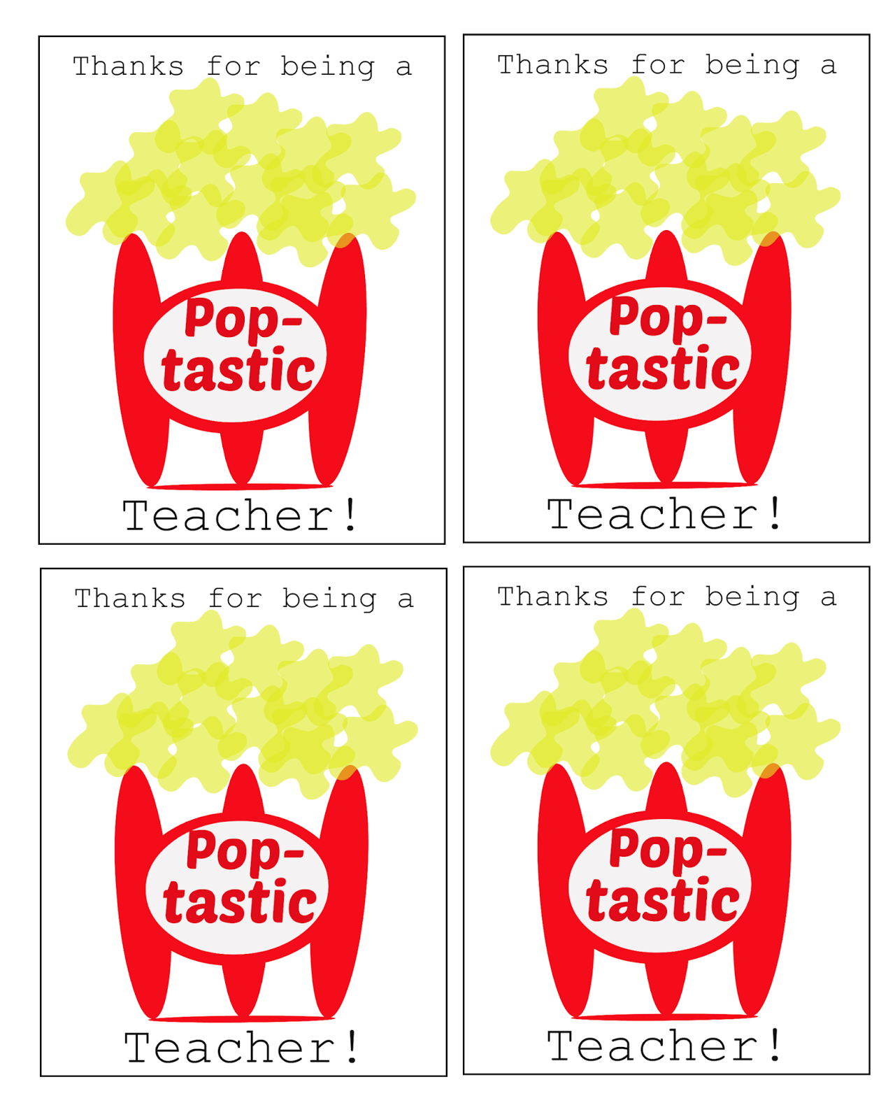 Teacher Appreciation Popcorn Printable | just b.CAUSE