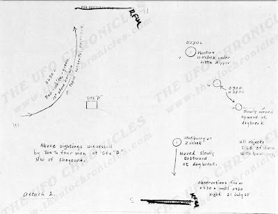 UFO Report at  Missile Sites, F E Warren AFB Wyoming (Sketch 2) August 1965