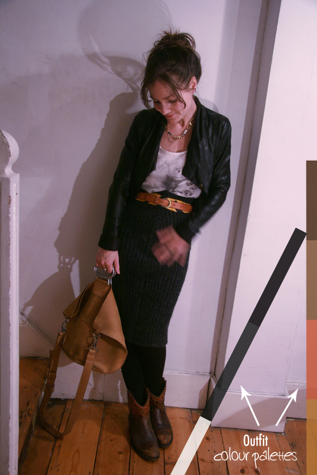 What I'm Wearing: Textures, Pencil Skirt & Bucket Bag