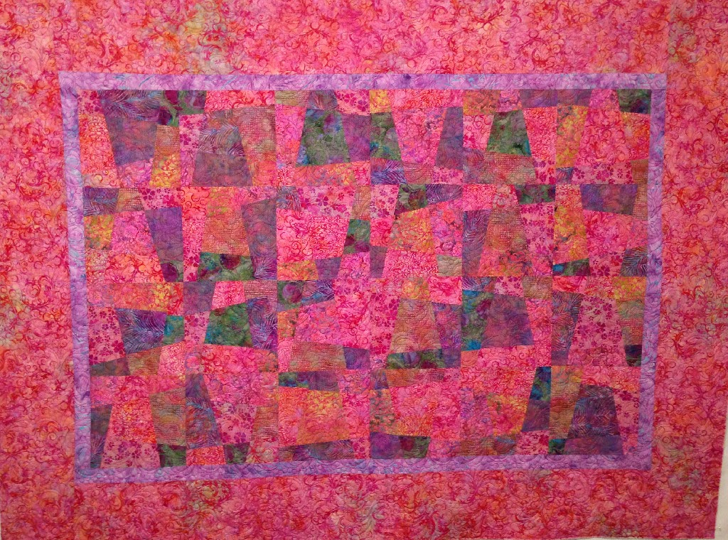Jean Ruvel's Batik with Pink Border Quilt