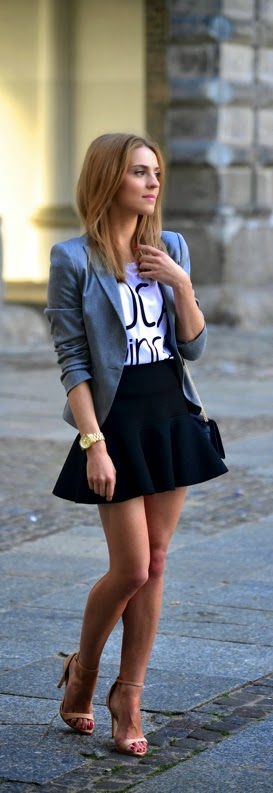 Classic Grey Blazer with Print Tee and Black Ruffle Skirt | Spring Outfits
