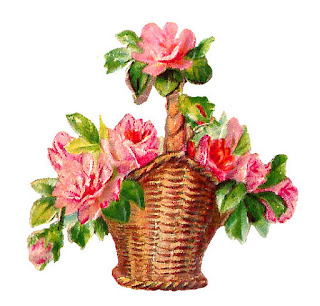 rose flower basket digital clip art