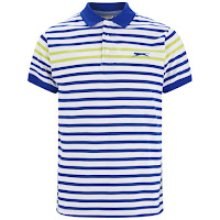 Slazenger Men's Pearce Striped Polo Shirt - White/Blue/Lime