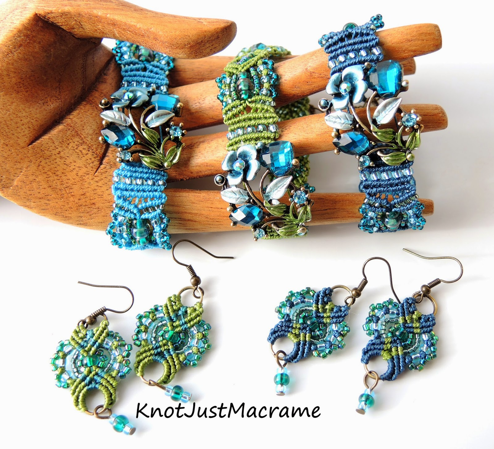 Micro macrame bracelets and earrings by Sherri Stokey of Knot Just Macrame.