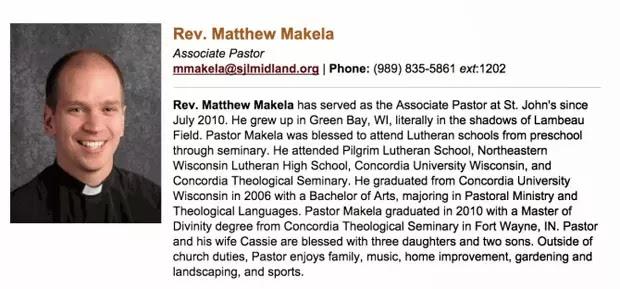 Pastor norte-americano Matthew Makela deixou igreja de Michigan após ser flagrando usando o app Grindr (Foto: Reprodução/St. John's Lutheran Church and School)