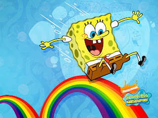 Sponge Bob Smiling on Rainbow Wallpaper