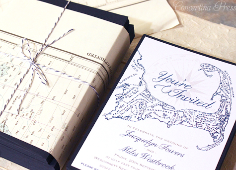 Concertina Press Stationery and Invitations Cape Cod Map – Vintage Nautical Wedding Invitations