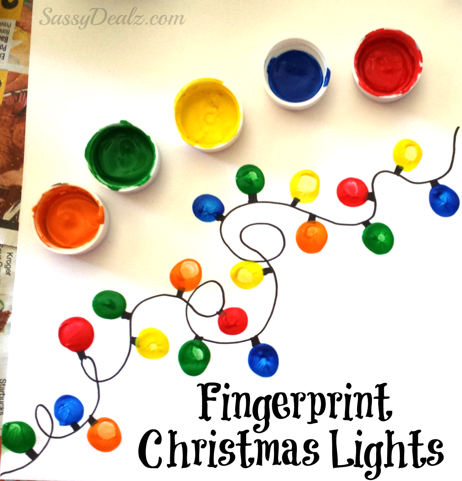 Fingerprint Christmas Light Craft For Kids (DIY Christmas Card Idea ...