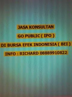 JASA KONSULTAN  GO PUBLIC ( IPO )  DI BURSA EFEK INDONESIA ( BEI )
