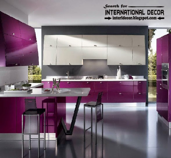how to choose best kitchen colors 2015, modern purple kitchens designs
