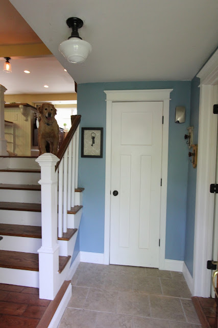 Benjamin Moore Labrador Blue paint with Allen and Roth schoolhouse light in foyer - www.goldenboysandme.com