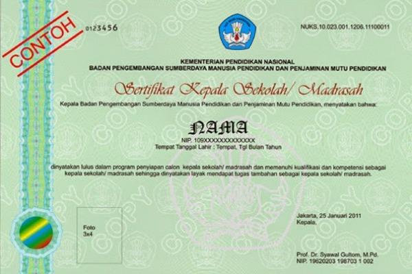 Sertifikat Kepala Sekolah/Madrasah