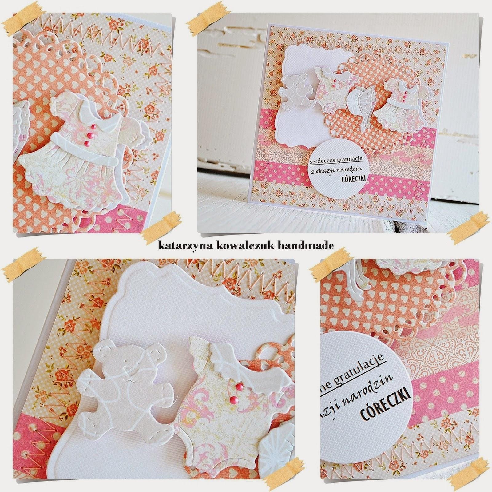 kartka z okazji narodzin córeczki scrapbooking