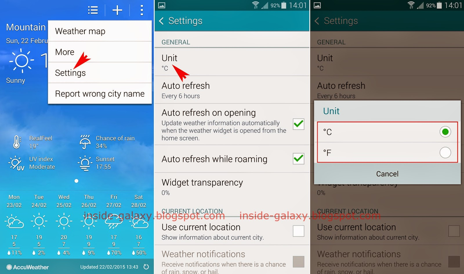 Samsung Galaxy S5 How To Change Temperature Unit In The