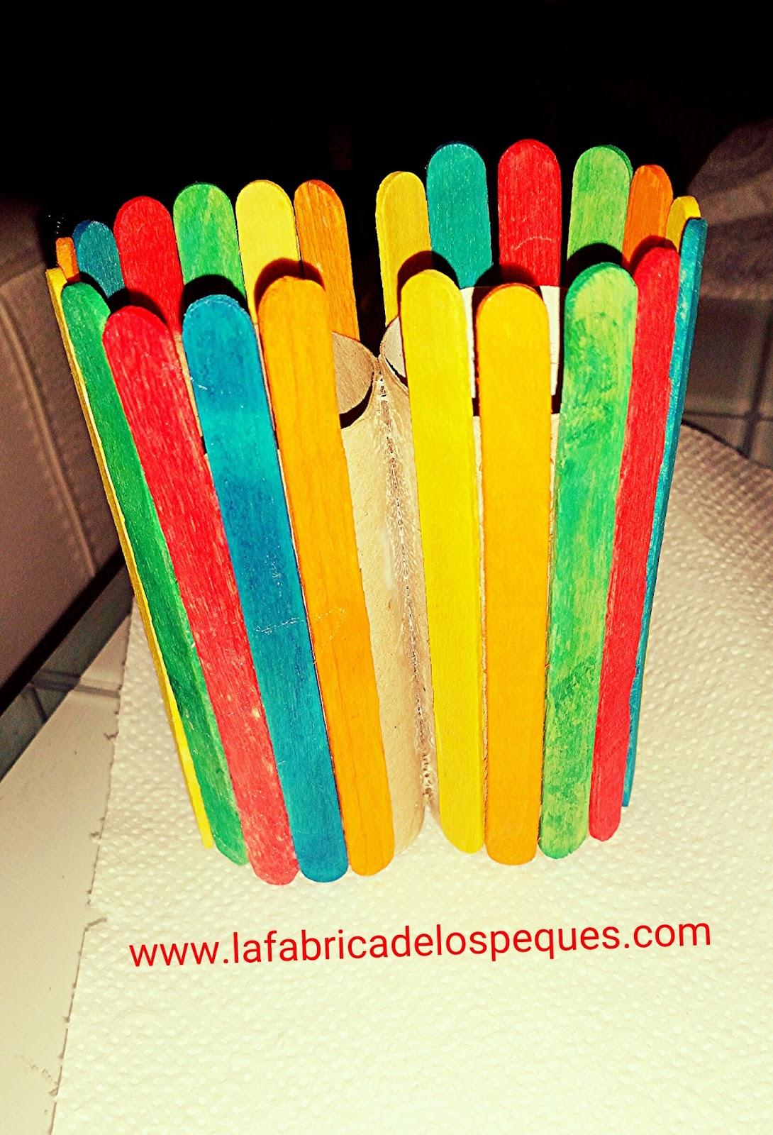 Bote de l pices doble con palitos de helado y rotuladores - Cosas para hacer con palitos de helado ...
