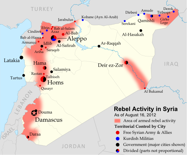 Map of rebel control in Syria's Civil War (Free Syrian Army, Kurdish groups, and others), updated for August 2012