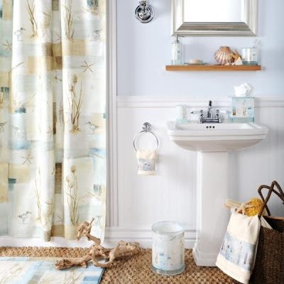Bathroom shower curtains and matching accessories - Of This Sandy Beach Bathroom Is Achieved With A Matching Set Of Shower