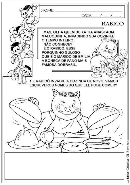 Atividade Dia do Livro Infantil Rabicó Leitura e Escrita
