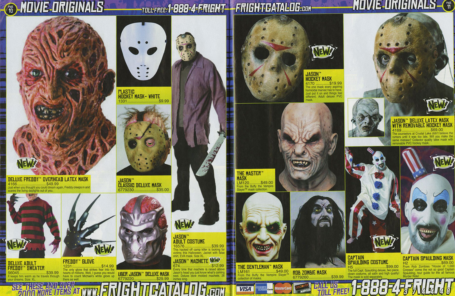 in order to avoid having to split the catalog into separate posts the focus here will be the masks of the 2004 fright catalog - Halloween Catalog