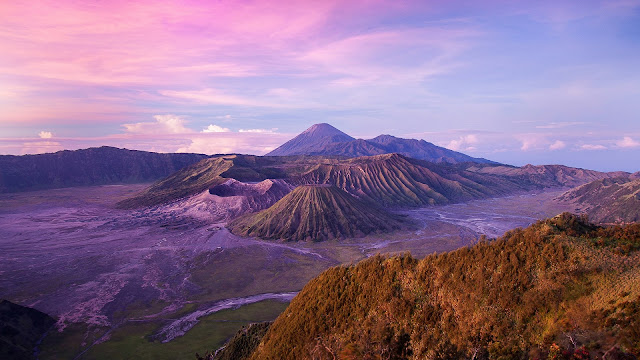 Indonesian landscape Java Island Volcano Dusk HD Wallpaper