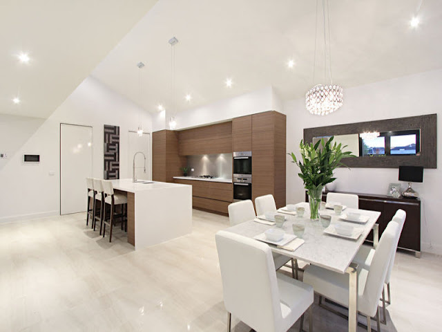 Picture of modern kitchen from the dining room of small contemporary home